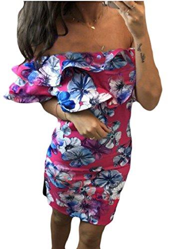Red Off Womens Bodycon Jaycargogo Floral Shoulder Dress Double Sexy Ruffle Mini Exav0vq4w