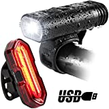 Sporting Goods : USB Direct Rechargeable Bike light Set,BYBLIGHT LED Induction Waterproof Road Mountain Bicycle Headlight Front Light with Free Rear Back Tail Light