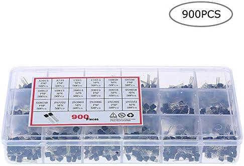 Benkeg 900ピース18値バイポーラトライオードトランジスタTO-92ボックスキットA1015-2N5551 DIY LEDキット