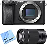 Sony ILCE-6300 a6300 4K Mirrorless Camera Body w/ 55-210mm Zoom Lens Bundle includes a6300 Camera, 55-210mm Zoom Lens and Beach Camera Microfiber Cloth For Sale