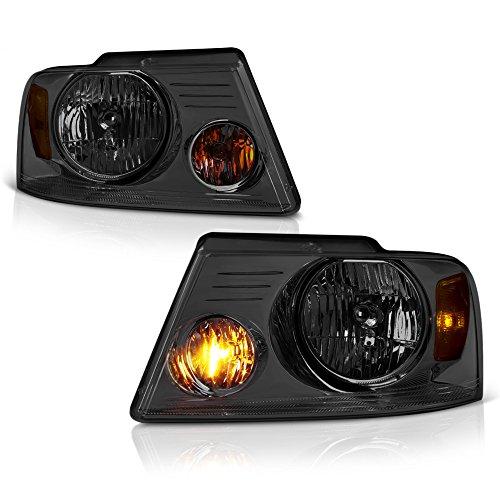 VIPMOTOZ Chrome Smoke Headlight Headlamp Assembly Replacement For 2004-2008 Ford F-150 & Lincoln Mark LT Pickup Truck, Driver & Passenger Side