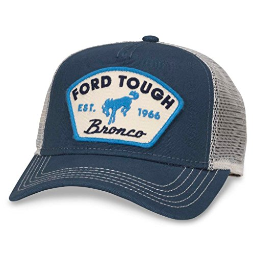 American Needle Valin Mesh Trucker Snapback Hat, Ford Tough, Ivory/Navy (FORD-1709A) - Panel Brushed Cotton Mesh Cap