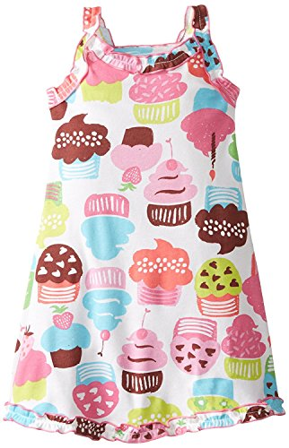Sara's Prints Little Girls' Girls Ruffle Tank Nightgown, Crazy Cupcakes, 4