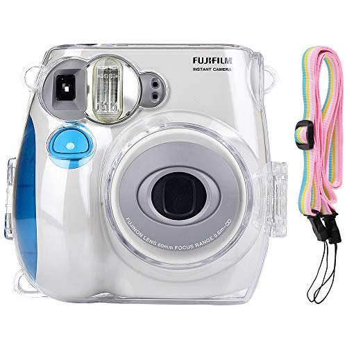 Katia Camera Case Compatible for Fujifilm Instax Mini 7S Instant Film Camera With Shoulder Strap - Transparent -