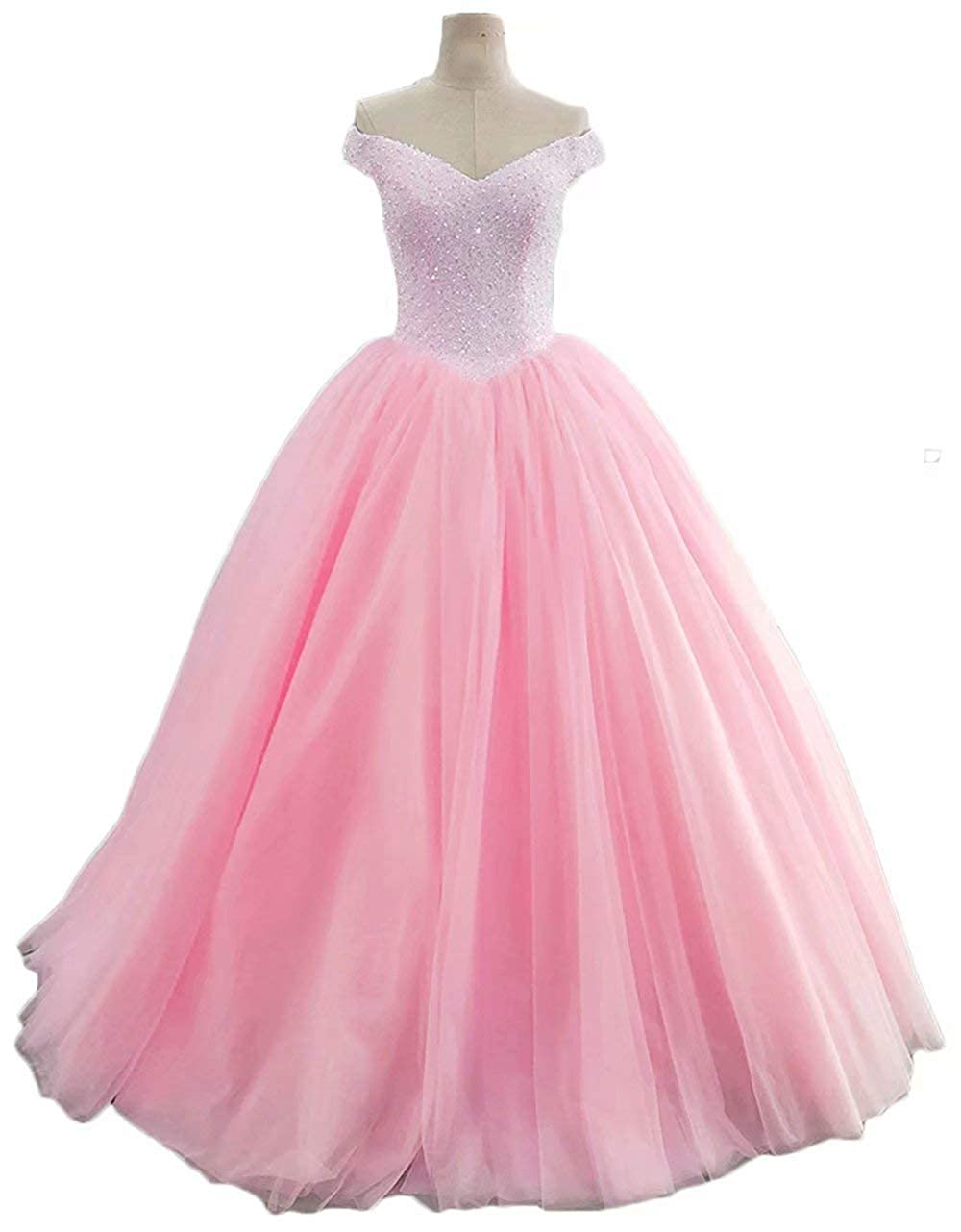 pink Pink Womens Off The Shoulder Prom Dresses Long 2019 Beaded Tulle A Line Evening Formal Gowns Wedding Party Dresses