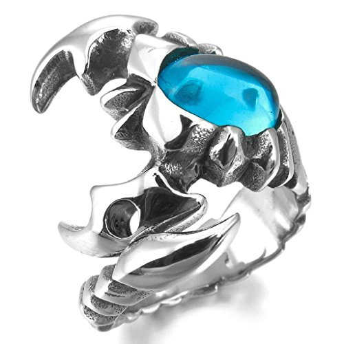 Aooaz Stainless Steel Rings For Men Punk Scorpion Blue Mens Wedding Band Promise Vintage Biker Size 9 (Halloween Band Aid Cookies)