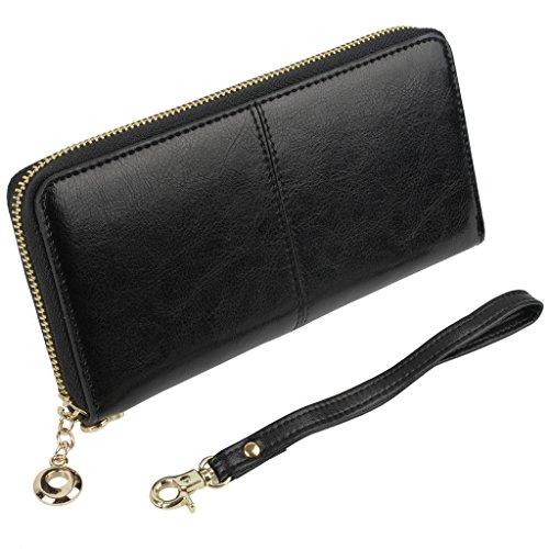 YALUXE Women's Zipper Around Large Genuine Leather Wallet Card Phone Checkbook Holder Wrist Strap Black