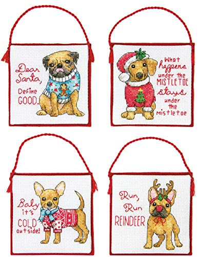 Dimensions 'Christmas Pups' Counted Cross Stitch Ornament Kit, 14 Count Ivory Aida Cloth, 4pc. -