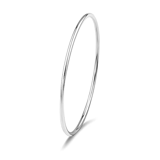 Merdia 925 Sterling Silver Polished Bangle Bracelet with Fresh Simple Style (7cm 6g) 2ZTWWjqi