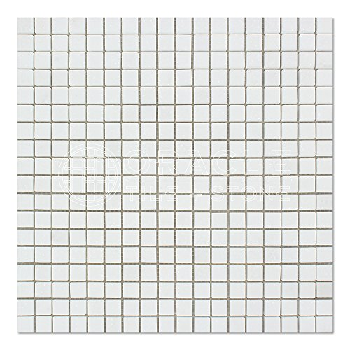 Thassos White Greek Marble 5/8 X 5/8 Mosaic Tile, Polished - 0.625 X 0.625 Mosaic