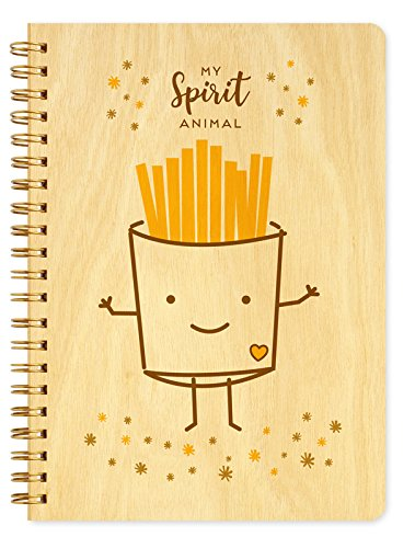 Night Owl Paper Goods Fries Spirit Animal Journal with Real Wood Covers