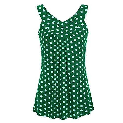 - Tantisy ♣↭♣ Women's Plus Size Loose Blouse Stretch Tops Polka Dot V Neck Casual Tunic Shirts Sleeveless Party Blouse Green