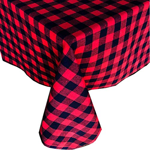 (Lintex Red and Black Buffalo Holiday Cottage Check Fabric Tablecloth, 100% Cotton, Christmas Rustic Buffalo Plaid Tablecloth, 60 Inch x 102 Inch)