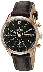 Bulova Men's 'Gemini' Swiss Automatic Stainless Steel and Brown Leather Casual Watch (Model: 64C106)