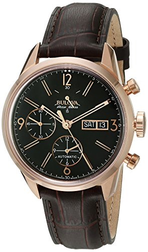 Bulova-Mens-Gemini-Swiss-Automatic-Stainless-Steel-and-Brown-Leather-Casual-Watch-Model-64C106