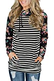 HOTAPEI Women's Double Hooded Striped Printed Long Sleeve Pockets Colorblock Zip Pullover Hoodies Sweatshirt Top for Women Black Striped Large