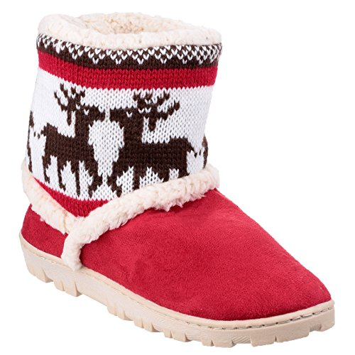Ladies Red Slippers Knitted Winter Denmark Womens Divaz Textile Bootie 5zRqZ0F8