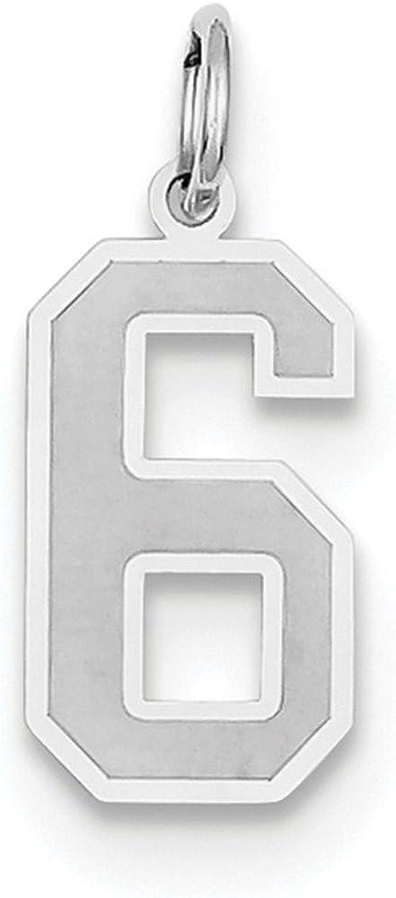 14K White Gold Medium Satin Number 51 Charm