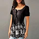 Clearance! Womens Loose Button Blouse, Casual Short Sleeve Floral Printed Tunic Top T-shirt S-2XL