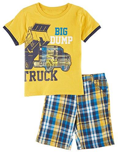 [Boyz Wear Little Boys Dump Truck Shorts Set 5 Yellow] (Dump Truck Short)