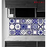 """Classic Mexican Talavera Tile Stickers, Kitchen and Bathroom Backsplash Tile Decal, Stair Riser Stickers, Peel & Stick Home Decor ( Pack of 44 ) 11 Designs (4"""" x 4"""" Inches)"""