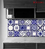Classic Mexican Talavera Tile Stickers, Kitchen and Bathroom Backsplash Tile Decal, Stair Riser Stickers, Peel & Stick Home Decor ( Pack of 44 ) 11 Designs (4'' x 4'' Inches)