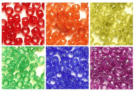 Beads Variety Pack - Primary Glitter Colors 6 x 9mm Plastic Craft Pony Beads, 6 Bags Variety Pack, 6 Colors (about 3000 beads), Beads Kit Gift Set