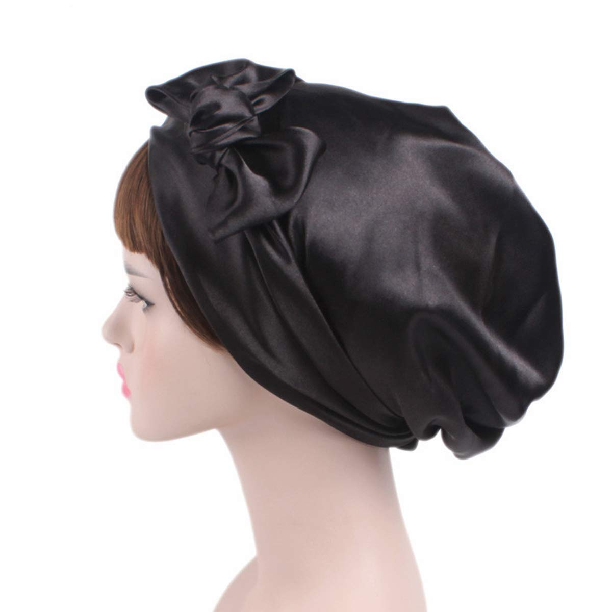 MAIPOETYRY Women Soft Satin Sleeping Cap Salon Bonnet with Long Drawstring Headwear