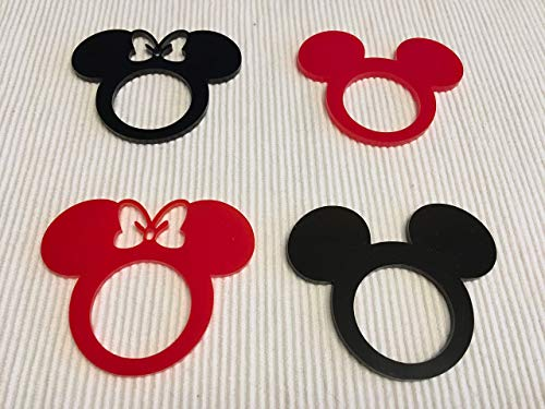 Mickey Mouse Ears Minnie Mouse with Bow Acrylic Napkin Ring Holders for Kids Birthday Party Decor Mickey Theme Party Favors Disney Decorations Tableware Cartoon Table Settings Clubhouse Cloth Napkins by FranJohnsonHouse (Image #3)