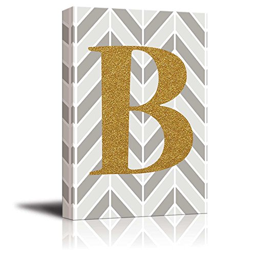 The Letter B in Gold Leaf Effect on Geometric Background Hip Young Art Decor