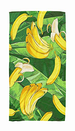 - Bath Towels for Travel,Tropical Bananas Palm Trees with Growing Bunch Leaf Fruits Ripe Cluster Foliage Textural 30x60 Inch Large Pool Towels for Body Bath,Swimming,Travel,Camping,Sport
