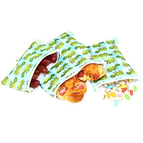 wegreeco Reusable Sandwich & Snack Bags - Set of 3 - (Sea Turtle)