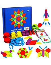 155 Pcs Wooden Pattern Blocks Set - Geometric Shape Puzzle Kindergarten Classic STEM Educational Montessori Tangram Toys with 24 Pcs Design Cards for Kids Boys Girls Ages 4-8