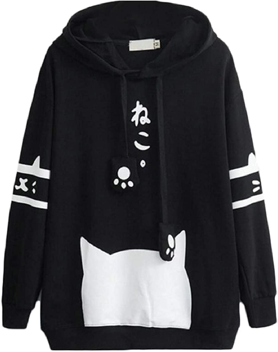 ONTBYB Women Cute Cat Sweatshirt Casual Teen Girls Hoodie Sweatshirt Pullover
