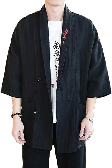 Camisa Kimono Estilo Chino para Hombres Manga 3/4 Chaqueta Capa: Amazon.es: Ropa y accesorios