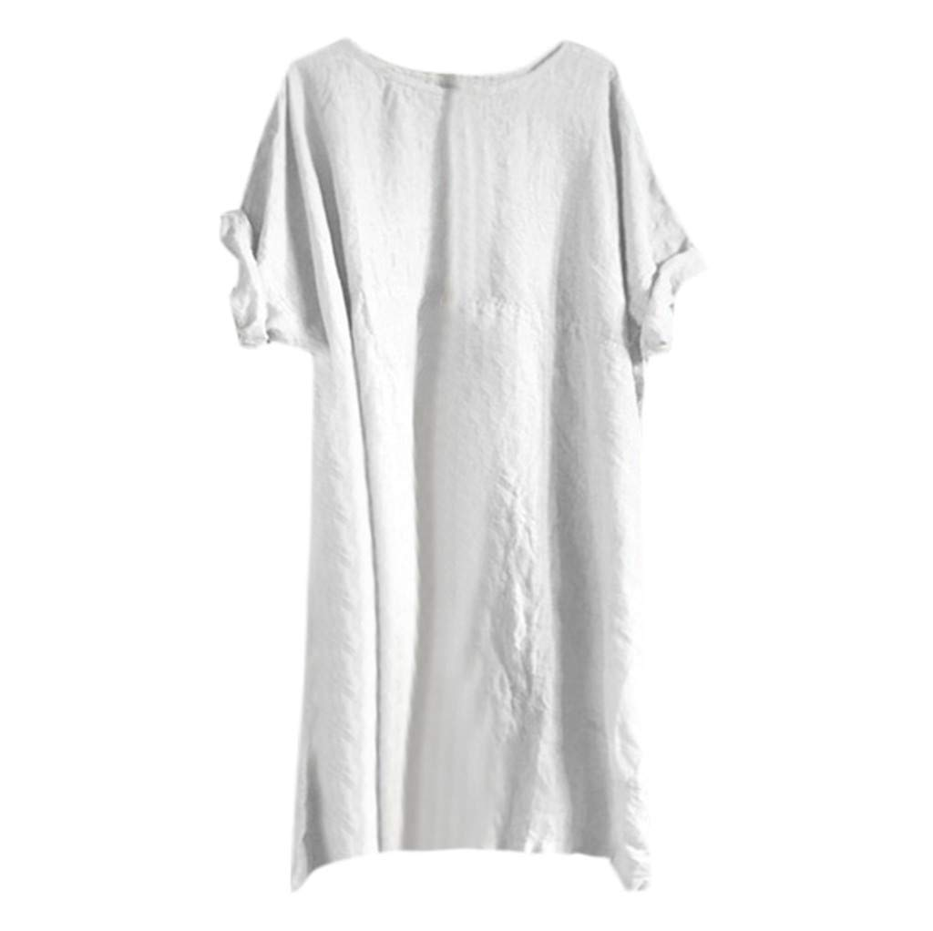 Women Ladies Dresses Short Sleeve Tunic Dresses Loose T-Shirt ❀Vine MINMI❀ Casual Tops Long Shirt Beach Casual Wear White by Vine_MINMI Dress