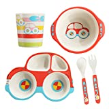 5 Piece Bamboo Dinnerware for Kids, Toddler, Car Plate and Bowl Set, BPA Free, Eco Friendly and Dishwasher Safe, Great Gift for Birthday, Baby Shower