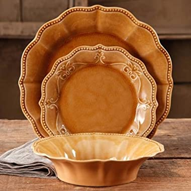 The Pioneer Woman 82696.12R Paige 12-Piece Crackle Glaze Dinnerware Set, Amber/Brown