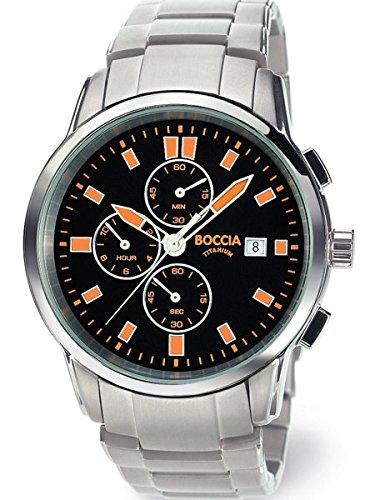 Boccia Mens Quartz Chronograph Watch with 12-Hour Totalizer and 41mm Titanium Case 3763-03