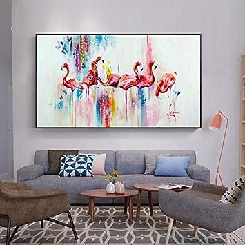 STAMONY Pintura al óleo nórdica Animales de pósters Flamenco Rosado Lienzo Pintura del Arte Cuadros for la Sala de Estar Decoración hogar Decoracion (Size (Inch) : 20x36)