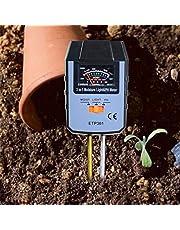 allsun 3-in-1 Soil Moisture/Light/pH Tester, Soil Moisture Sensor Meter for Garden, Farm, Lawn Plants Indoor & Outdoor Grey (No Battery Needed)