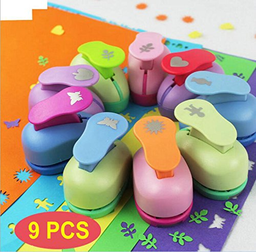 (9 PCS Mini Paper Punches Sets Christmas tree Snowflake and Circle Craft Hole Puncher Shape DIY Scrapbook Paper Cards Art Cutter Tool)