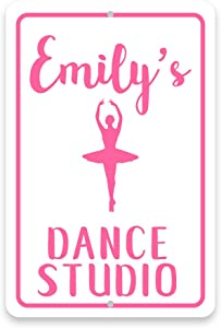Pattern Pop Personalized Ballet Dance Studio Metal Room Sign