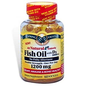 Spring valley fish oil 1200 mg with vitamin for Fish oil vitamin d3