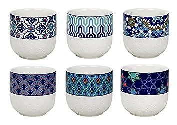 À 6azthe Porcelaine 6 Thé Design Tasses Ec En Azulejos Ard'time ulFJT13cK