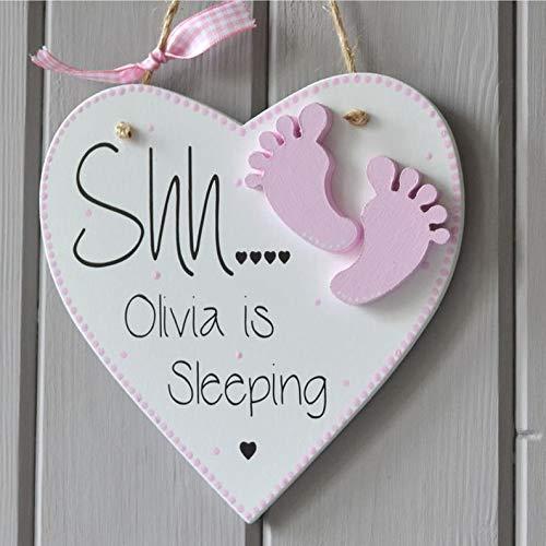 RubyShopUU Shh Baby Sleeping Plaque. Personalised Baby Girl Gift and Keepsake, Tiny Baby feet Decoration by RubyShopUU
