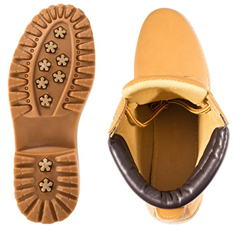 Elara Damen Worker Boots | Bequeme Warm Gefütterte Schnürrer | Outdoor Stiefeletten Berlin Camel