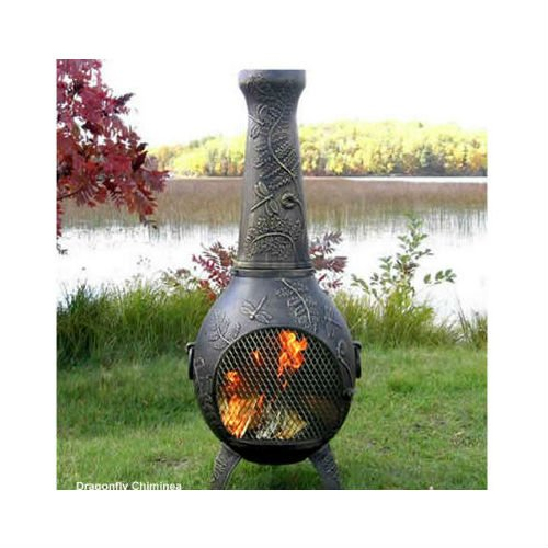 Blue Rooster Dragonfly Style Wood Burning Outdoor Metal Chiminea Fireplace Gold Accent Color