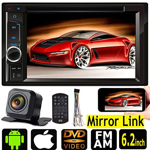 For Ford F-150 1998-2012 Mirror Link For GPS Double DIN In-Dash DVD/CD/TV/MP3/AM/FM Front USB/Auxiliary Input and Steel Wheel Support Car Stereo Receiver 6.2 Inch Free Back up Rear View Camera (Tv Car Stereo Dvd)
