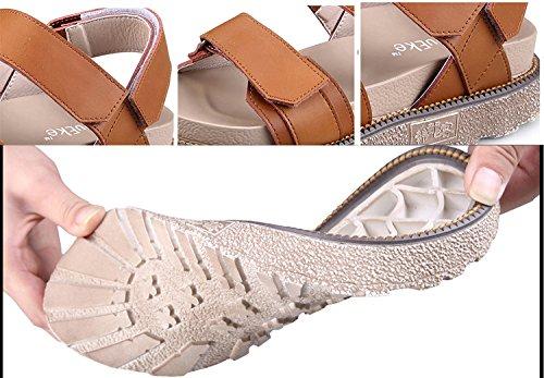 H&W Mujer Cuero Plataforma Sandalias Velcro Correa Punta Abiertas Goma Soles Marrón